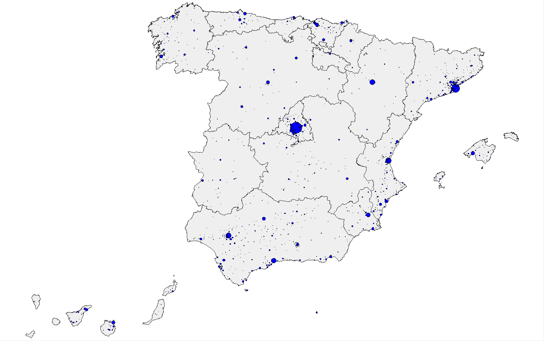 Municipios con más de 5000 habitantes en 2009.